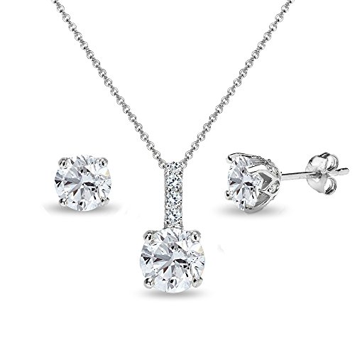 Sterling Silver Created White Sapphire Round Crown Stud Earrings & Necklace Set