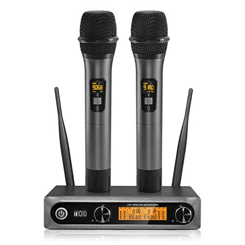 Wireless Microphone UHF, TONOR Dual Professional Dynamic Mic Handheld Metal Microphone Set for Karaoke, Party, DJ, Church, Wedding, Meeting, Class Use, 200ft