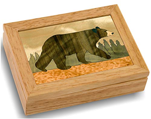 (Wood Art Bear Box - Handmade in USA - Unmatched Quality - Unique, No Two are the Same - Original Work of Wood Art. A Black Bear Gift, Ring, Trinket)