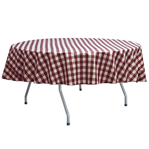 Ultimate Textile 60-Inch Round Polyester Checkered Tablecloth - Fits Tables Smaller Than 60-Inches in Diameter, Burgundy and White