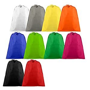 Travel Shoe Bag, 10 Pack Rainbow Drawstring Shoe Bags