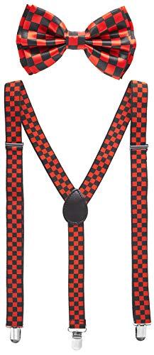 Black Man Dressed For Halloween (Man of Men - Men's Black & Red Checkered Bowtie & Suspender)
