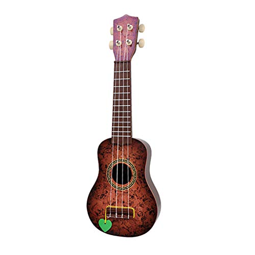 Onefa Beginner Classical Ukulele Guitar Educational Musical Instrument Toy for Kids (Brown) ()