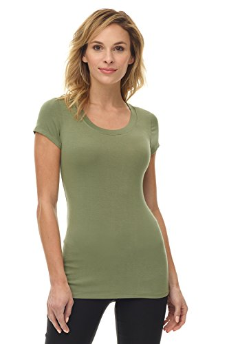 (Rekucci Women's Perfectly Soft Basic Fitted Short Sleeve Scoop Neck T Shirt (X-Large,Lichen Green))