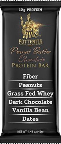 Pottentia Grass Fed Whey Protein Bar, Peanut Butter Chocolate, Simple Natural Ingredients, Eight 42g Bars, Prebiotic Fiber, Gluten Free, Non GMO, No Sugar Alcohol
