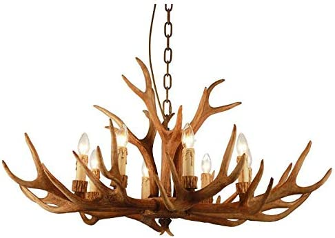 Retro Resin Antler Chandelier, Vintage Deer Pendant Lights Rural Countryside Chandelier Hanging Indoor Lights Decorative Twig Lights for Living Room Bar Cafe Lighting