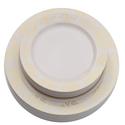 Premium 60 Pack Combo Disposable Plastic Plates   Includes 30 10.25