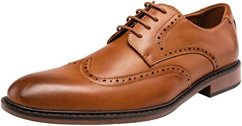 - JOUSEN Men's Dress Shoes Modern Brogue Oxford Business Wingtip Shoes (11.5,Brown-a)