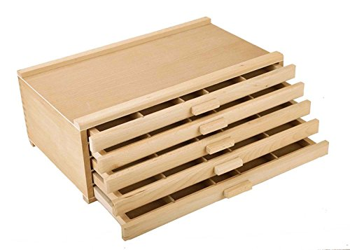 Vencer 5 Drawer Wood Art Storage Box for Pencil, Pen, Pastel, Marker Set - Organizer Drawer Beechwood
