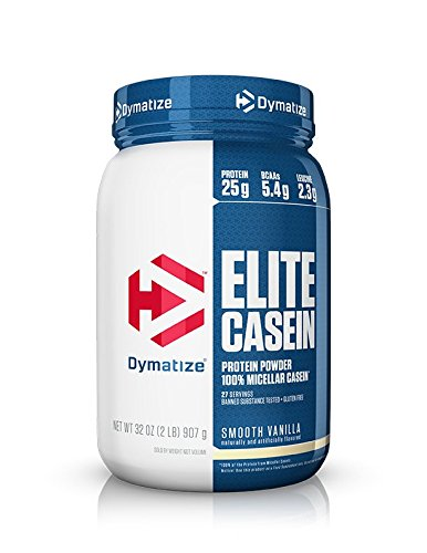 Dymatize Elite 100% Micellar Casein Slow Absorbing Protein Powder with Muscle Building Amino Acids, Perfect For Overnight Recovery, Slow Digesting, Smooth Vanilla, 2 lbs