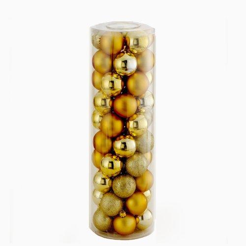 - Kurt Adler Shatterproof 50-Piece Ball Ornament Set, 60mm, Gold