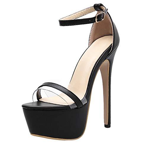 16cm Club Plateforme Epais Bouche Cheville Poisson Femme Soiree Chaussures Sexy Fermeture Bride Aiguille Dresslksnf Escarpins Talon De Stiletto Noir wpqT114