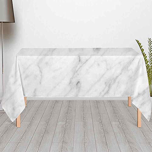 TecBillion Marble No Fading Satin Tablecloth,Carrara Marble Tile Surface Organic Sculpture Style Granite Model Modern Design for Rectangle Table Kitchen Dinning Party,104.33''W x 51.97''H