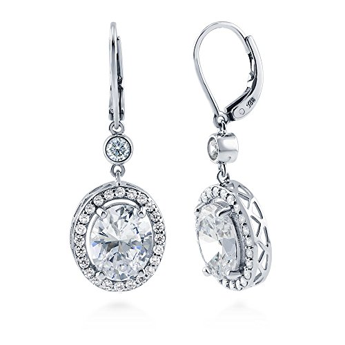 468970301 BERRICLE Rhodium Plated Sterling Silver Cubic Zirconia CZ Halo Leverback  Dangle Drop Earrings high-quality