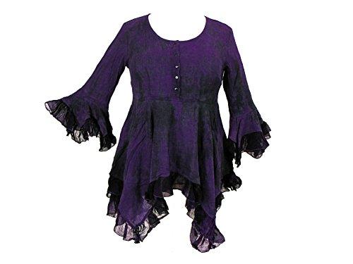 Dye Darkstar - Dark Star Plus Size Purple and Black Gothic Georgette Renaissance Bell Sleeve Top (TAGGED XXLFITS3X)