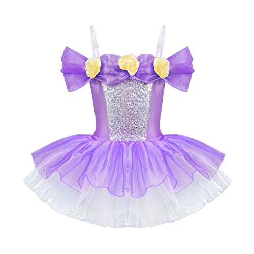 FEESHOW Kids Girls Sequined Ballet Dance Tutu Dress Leotard Skirt Princess Dancewear Party Outfit Costumes Fairy Purple 3-4
