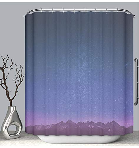BEICICI Color Shower Curtain Liner Anti-Mildew Antibacterial Mountains Wallpaper with Purple Tint Custom Shower Curtain Bathtub Bathroom Accessories 60W×72Linch