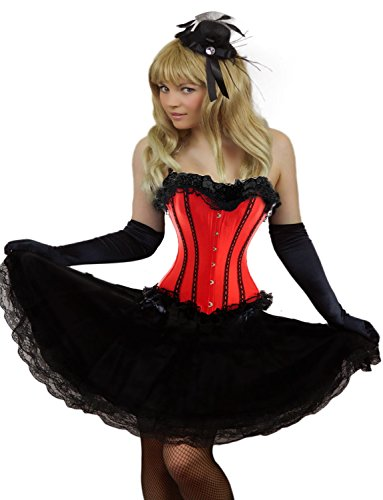 [Yummy Bee Womens Burlesque Corset + Long Black Lace Skirt Costume Size 22 - 24 Red] (Moulin Rouge Costumes)
