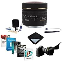 Sigma 8mm f/3.5 EX DG Circular Fisheye AF Lens for Canon EOS Cameras - USA Warranty - Bundle with Flex Lens Shade, Cleaning Kit, Lens Wrap, Lens CapLeash II, Software Package