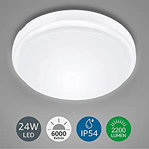 LE Ceiling Light Waterproof IP54, 24W 2200lm, Daylight White 6000K, Flush Mount, Round LED Ceiling Light for Bathroom, Home Office, Outside Porch and More