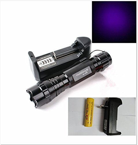 UV LED Schwarzlicht - Geocaching - Nightcaching - Nachtcache - Uv Licht strong für UV Stempelfarbe, UV Leuchtfarbe, Schwarzlichtf incl. 1x18650 Akku