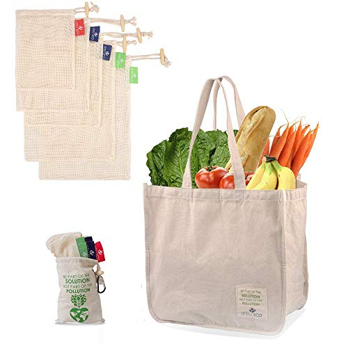 SIMPLY ECO Sturdy Reusable Canvas Shopping Tote Bag for Groceries and Cotton Reusable Mesh Produce Bags with Drawstring…