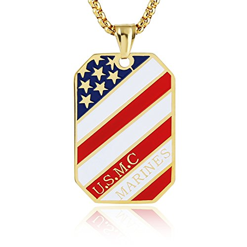 Gold American Flag Charm (HZMAN U.S.M.C Marines Logo with Psalm 23: 4 Stainless Steel American Flag Dog Tag Necklace 24