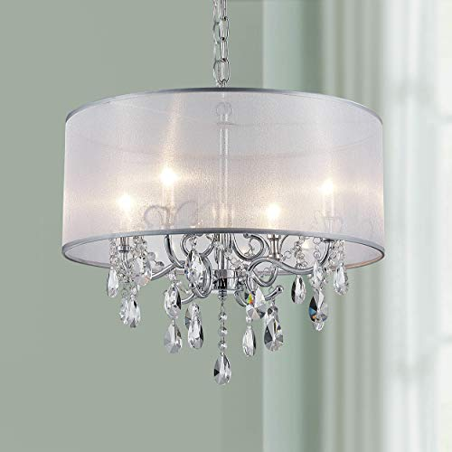 Bestier Modern Elegent Crystal Pendant Drum Chandelier 4 Light Chrome Lighting Fixture LED Ceiling Light Dia 19 in x H 26 in