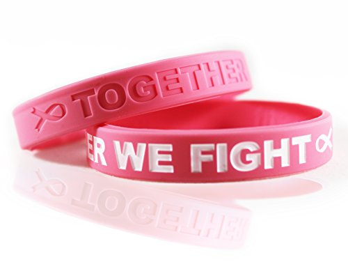 Breast Cancer Awareness Bracelets Gift for Patients, Survivors, Family and Friends. Set of 2 Pink Ribbon Silicone Rubber Wristbands (Pink Breast)