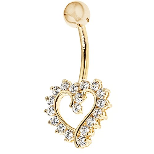 14k Solid Yellow Gold Cubic Zirconia Open Heart Belly Button Navel Ring Body Art (Button Ring Gold 14k Belly)