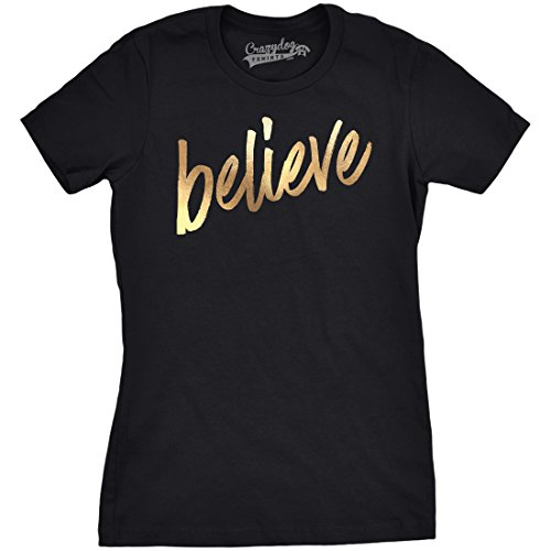 Womens Believe Script Gold Shimmer Application Cool Inspirational T Shirt (Black) M (T-shirt Believe Womens)