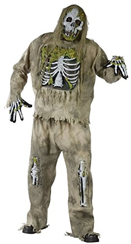 Skeleton Zombie Adult Plus Costume, Plus, Brown (Skeleton Zombie Adult Plus Costumes)