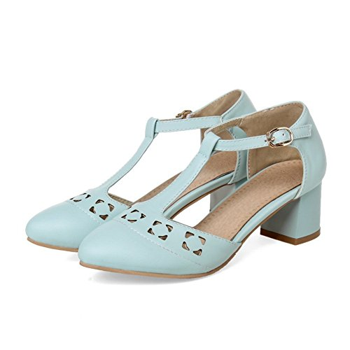 Imitated Heels Leather Toe Round Blue BalaMasa Chunky Womens Sandals HZpvvq