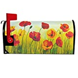 Wamika Art Red Poppy Flowers Mailbox Cover Spring