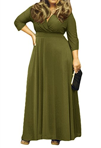 AM CLOTHES Womens V-Neck 3/4 Sleeve Plus Size Evening Party Maxi Dress 3X Army Green