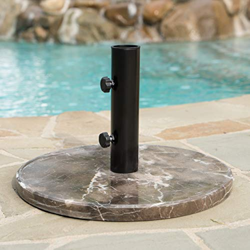 GDF Studio 300380 Saxony Outdoor Coffee Granite and Black Steel Umbrella Base - Granite Umbrella Base