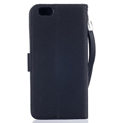 Voguecase® Pour Apple iPhone 6/6s 4,7 Coque, Etui Housse Cuir Portefeuille Case Cover (Papillon III-Noir)de Gratuit stylet l'écran aléatoire universelle