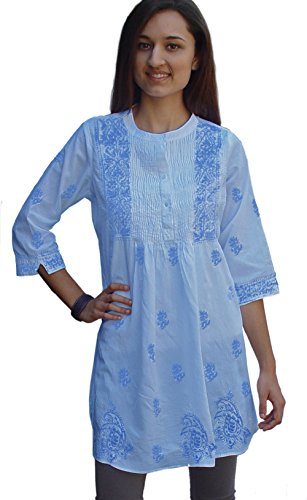 - Ayurvastram Bibab Pure Cottn Hand Embroidered Front Pleated Tunic Top Kurti: Light Blue, Sz 4