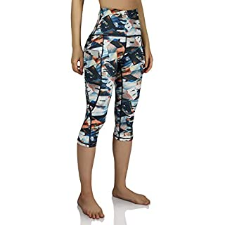 ODODOS Women's High-Rise Pattern Leggings 6/8 Printed Yoga Capris with Out Pockets, FineArt, Large