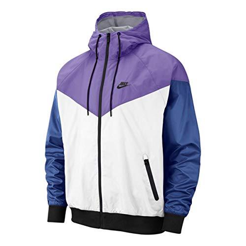 (Nike Mens Windrunner Hooded Track Jacket White/Space Purple/Indigo Storm/Black AR2191-101 Size X-Large)