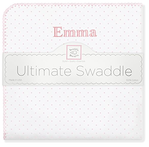 (Personalized Baby Gift Blanket Ultimate Swaddle, Made in USA, Premium Cotton Flannel, Pastel Pink Polka Dots, Large 42