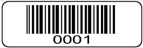 1000 label Roll, 0001 through 1000 Serial Number Barcodes 1-1/2