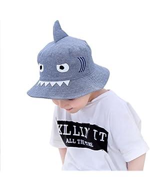 Baby Boy Sun Hat Wide Brim Caps for Boys Toddler Kids Breathable Bucket Cap Animal Shark Attack Shape Hat