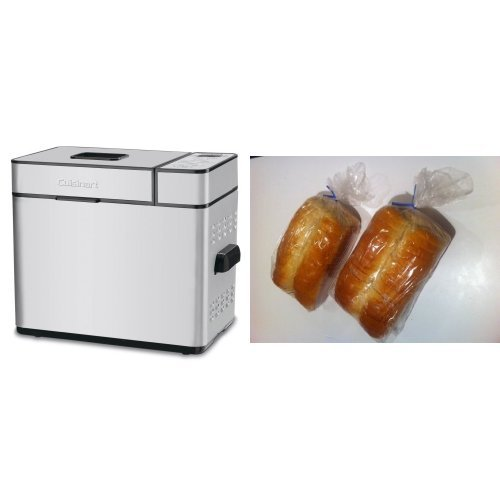 Cuisinart CBK-100 2 LB Bread Maker and Bread Loaf Bags Pack of 100 with 100 Free Bread Ties! Bundle