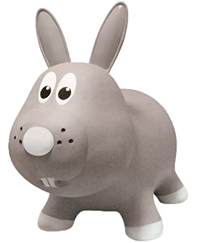 Farm Hoppers Award Winning Inflatable Bouncing Grey Rabbit with Pump