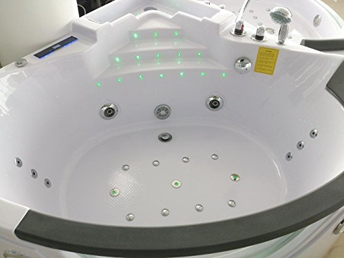 Sicilia 678 Whirlpool Corner Modern Bath Tub with Fixtures 21 body jets cascade FAST DELIVERY /& 24 Months Warranty! // Comfortable Headrests // Ozone sterilization // Water consumption switch // American waterfall