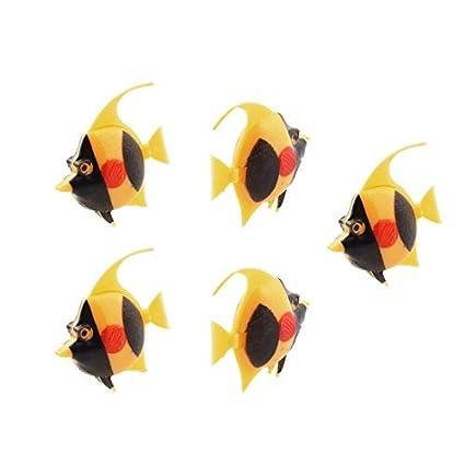 eDealMax Acuario Negro Amarillo de plástico que Flota cola que menea Tropical Fish 5 x