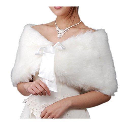 EQLEF® White Faux Fur Wrap Shawl Shrug Bolero Cape Lady Gift with Satin Bowknot, Bridal Ivory Faux Fur Jacket coat shawls stole ()