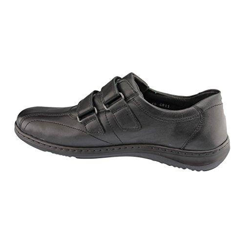 Waldläufer 478301-191-055 Herwig hombres zapato ancho H negro - negro