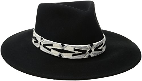 'ale by alessandra Women's Luna Felt Fedora With Hand Embroidered Trim, Black, One Size by ale by Alessandra